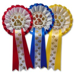 2 tier pawprint dog show rosettes