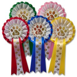 1st - 5th pawprint 2 tier rosettes