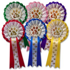 1st - 6th pawprint dog show 2 tier rosettes