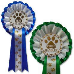 choose your award 2 tier paw rosettes