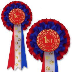 personalised 2 tier PAW2 dog show rosette