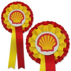 2 colour 2 tier promotional rosette