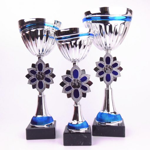 silver and blue cups