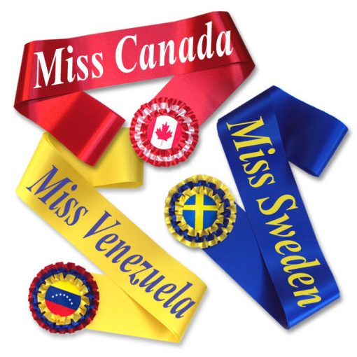 miss world sashes with rosettes
