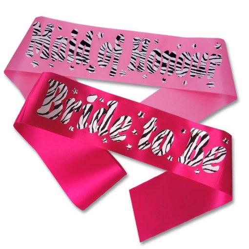 personalised zebra print sash