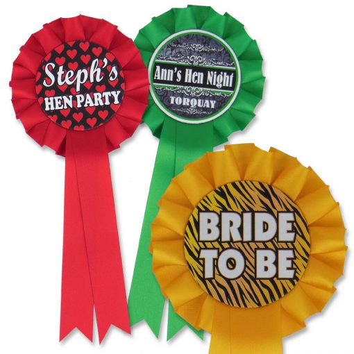 personalised 1 tier hen party rosettes