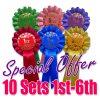 10 sets 1 tier 1st-6th rosettes
