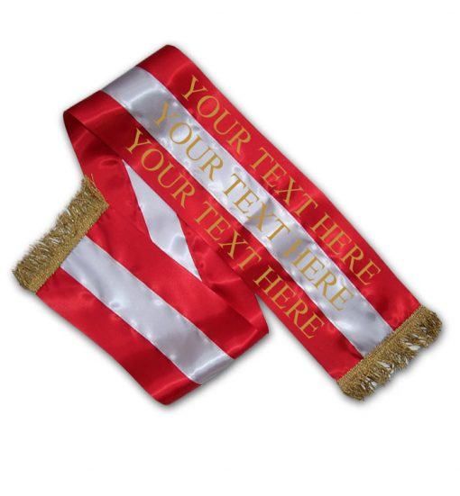 red and silver dog show sash