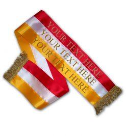 red white gold tricolour dog sash