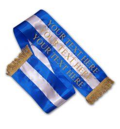blue and silver dog sash