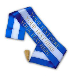 blue and white tricolour sash