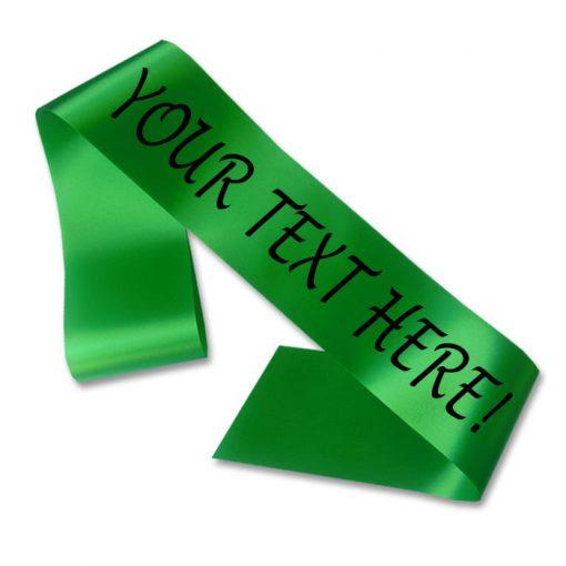 green personalised sash