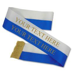 white and blue sash