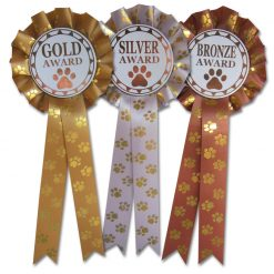 gold, silver, bronze dog training rosettes