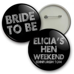 bling hen night badges