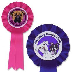 dog show rosettes with logo