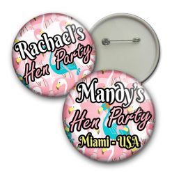 flamingo hen party badges