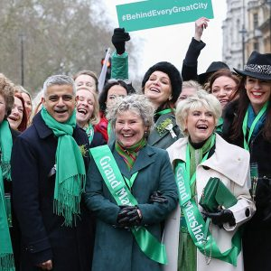 St Patrick's Day Sash - The Mayor of London - Sadiq Khan pictured with TV Celeb Gloria Hunniford wearing one of our sashes.