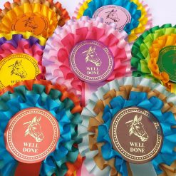 3 tier horse rosettes assorted colours